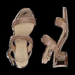 Sandalias efecto espejo color dorado/rosa, tacón 4 cm, OPORTUNIDADES, 154942401SPRAOR036, 003 preview