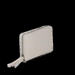 Portafoglio bianco in eco-pelle a tre scomparti, Borse, 133723501EPBIANUNI, 002a