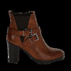 Ankle boots cuoio in pelle di vitello, tacco 8 cm , Stivaletti, 148900180VICUOI036, 001a