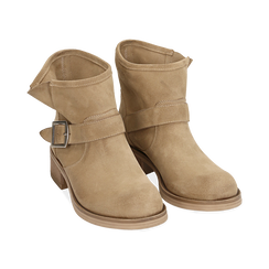 Bottines Biker taupe en nubuck, Chaussures, 157782014CMTAUP039, 002 preview
