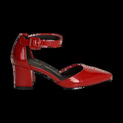 Décolleté rosse in vernice con cinturino, tacco 6 cm , Scarpe, 144942232VEROSS035, 001 preview