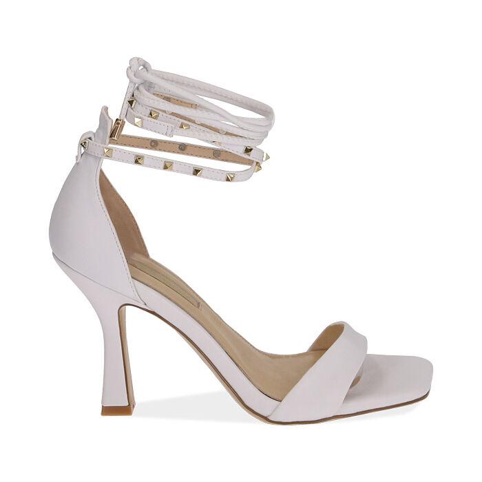 Sandali lace-up bianchi, tacco 10 cm , Primadonna, 172136530EPBIAN036