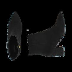 Ankle boots neri in microfibra, tacco 6 cm , Stivaletti, 144916811MFNERO037, 003 preview