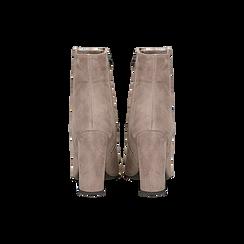 Tronchetti nude in vero camoscio, tacco 10 cm, Scarpe, 12D615110CMNUDE, 003 preview