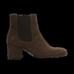 Chelsea Boots marroni in vero camoscio, tacco quadrato medio 5,5 cm, Primadonna, 127722102CMMARR, 001 preview