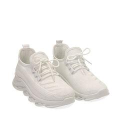 Sneakers bianche in tessuto tecnico , Scarpe, 179702610TSBIAN035, 002a