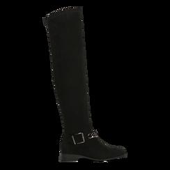 Stivali sopra il ginocchio neri flat, Scarpe, 122754818MFNERO036, 001 preview