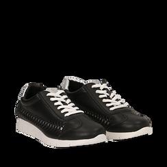 Sneakers nere in eco-pelle , Scarpe, 130609571EPNERO035, 002a