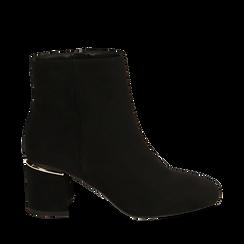 Ankle boots neri in microfibra, tacco 6,50 cm , 164981031MFNERO036, 001a