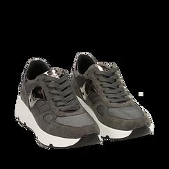 Sneakers grises en tissu technique, compensée 4 cm, Primadonna, 162801993TSGRIG036, 002a