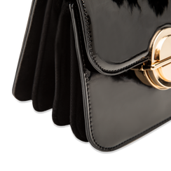 Borsa a tracolla nera in ecopelle vernice, Saldi, 122408030VENEROUNI, 004 preview