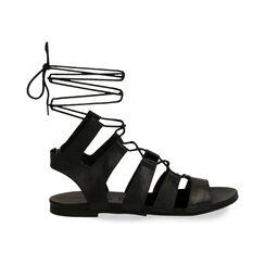 Sandali gladiator neri in pelle, Primadonna, 17B813337PENERO035, 001 preview