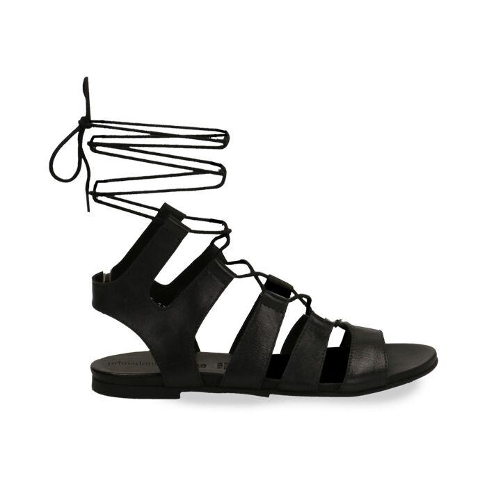 Sandali gladiator neri in pelle, Primadonna, 17B813337PENERO035