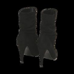 Ankle boots drappeggiati neri in microfibra, tacco 10 cm , Stivaletti, 142152925MFNERO035, 003 preview