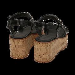Sandali neri stampa cocco, zeppa 7,50 cm, Scarpe, 154967318CCNERO, 004 preview