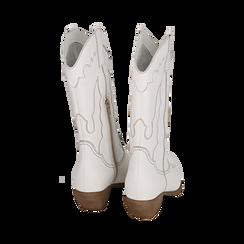 Santiags blanche en cuir, talon 4 cm, Primadonna, 157732902PEBIAN036, 003 preview