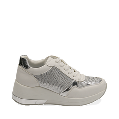Sneakers bianche con zeppa, Scarpe, 152802472EPBIAN035, 001a