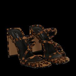 Sandali con punta quadrata leopard in microfibra, tacco 10 cm, Sandali con tacco, 131785322MFLEOP035, 002a