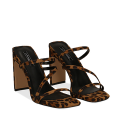 Sandali con punta quadrata leopard in microfibra, tacco 10 cm, Scarpe, 131785322MFLEOP035, 002a