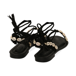 Sandali lace-up neri in microfibra con conchiglie, Zapatos, 154948229MFNERO036, 004 preview