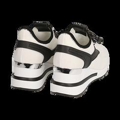 Sneakers bianche in tessuto con zeppa, Primadonna, 152803421TSBIAN036, 004 preview
