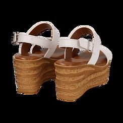 Sandali platform bianchi in eco-pelle, zeppa 8 cm , Saldi Estivi, 13A133255EPBIAN035, 004 preview