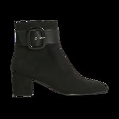 Tronchetti neri con maxi-fibbia, tacco 5 cm, Scarpe, 122707413MFNERO, 001 preview