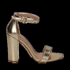Sandali oro in laminato, tacco 10,50 cm , Primadonna, 132706086LMOROG035, 001a