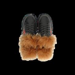 Sneakers nere con ricami animalier e dettagli in faux-fur, Scarpe, 126102020EPNERO036, 004 preview
