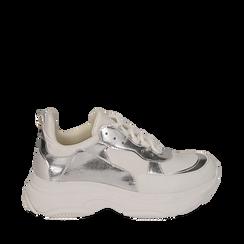 Dad shoes en eco-piel color blanco/plateado, Zapatos, 15K429169EPBIAR036, 001a