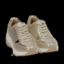 Sneakers oro in laminato con zeppa, Scarpe, 152802472LMOROG035, 002a