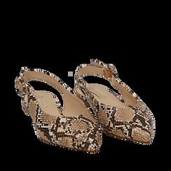 Slingback flat beige in eco-pelle snake print, Primadonna, 154918652PTBEIG035, 002a