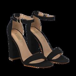 Sandali neri in microfibra, tacco 10,50 cm, Sandali con tacco, 132706086MFNERO037, 002a