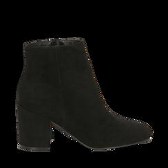 Ankle boots neri in microfibra, tacco 7,5 cm , Stivaletti, 142762715MFNERO036, 001a