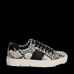 Sneakers bianco/nere in eco-pelle, effetto snake skin, Scarpe, 142619071PTBINE036, 001a
