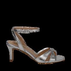 Sandali argento in laminato, tacco 7 cm, Primadonna, 134819206LMARGE035, 001a