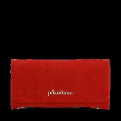 Portafogli rosso in microfibra, Borse, 142200002MFROSSUNI, 001a