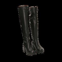 Overknee neri in eco-pelle, tacco 7 cm, Primadonna, 142828202EPNERO035, 002a