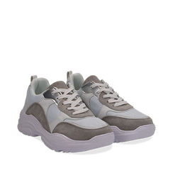 Dad shoes bianche in nylon con dettagli metallizzati, Scarpe, 130101402NYBIAN036, 002a