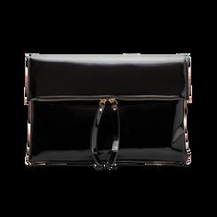 Pochette bustina nera in ecopelle vernice, Primadonna, 123308136VENEROUNI, 001 preview