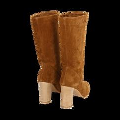 Bottes en daim marron, talon de 9 cm, Chaussures, 158900891CMRUGG036, 003 preview