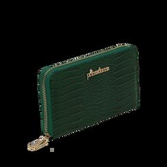 Portafogli verde in eco-pelle effetto cocco , Borse, 142200896CCVERDUNI, 002a