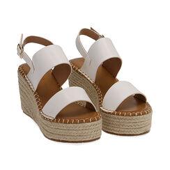 Sandali bianchi, zeppa 9 cm , Primadonna, 174906067EPBIAN035, 002 preview