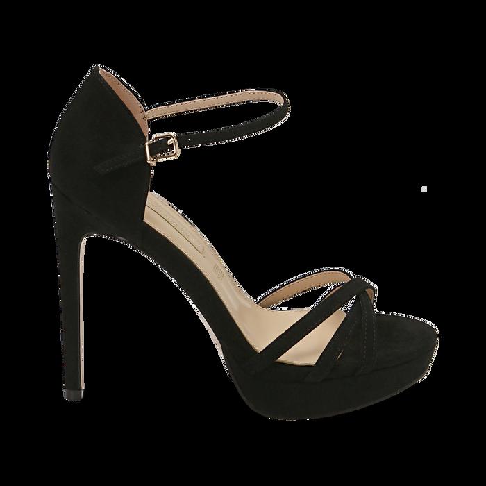 Sandali neri in microfibra, tacco 12,50 cm, OUTLET, 152118123MFNERO040