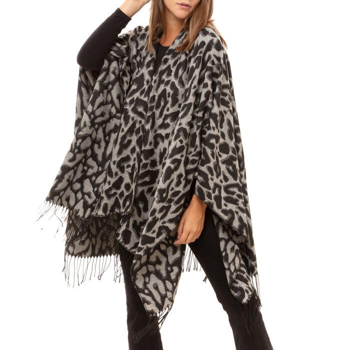 Poncho nero stampa leopard, Primadonna, 16B417318TSNEROUNI