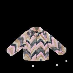 Pelliccia multicolore corta eco-fur, manica lunga, Saldi, 12B432301FUROSA3XL, 001a