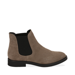 Chelsea boots taupe in camoscio, Stivaletti, 141611243CMTAUP035, 001a