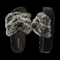 Ciabatte grigie in eco-fur con catenelle, Primadonna, 112061302FUGRIG041, 003 preview
