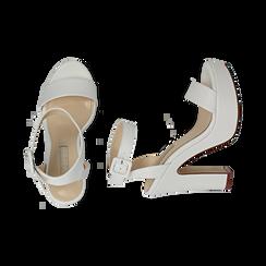 Sandalias en eco-piel color blanco, tacón 12,50 cm , OPORTUNIDADES, 158480410EPBIAN037, 003 preview