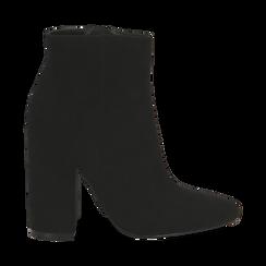 Ankle boots a punta neri in microfibra, tacco 11 cm , Stivaletti, 142186942MFNERO035, 001 preview